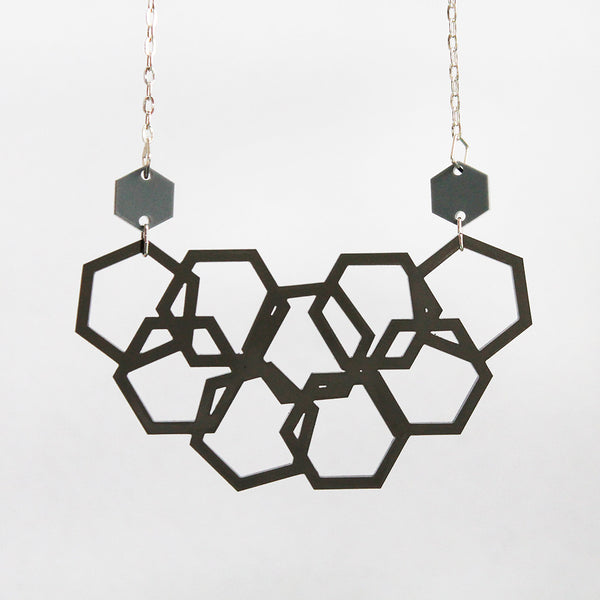 Smokey Grey Scattered Hexies Necklace