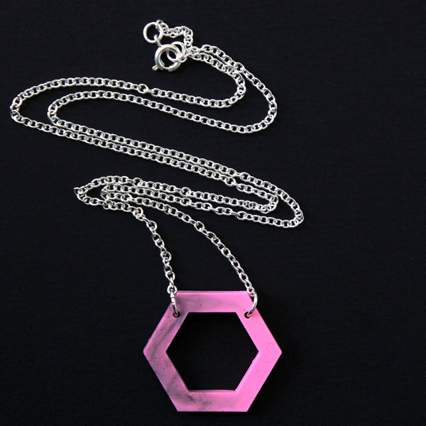 Small Hollow Hexagon Necklace - Marbled Pink & Grey