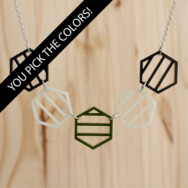 Striped Hexies Necklace - DESIGN YOUR OWN