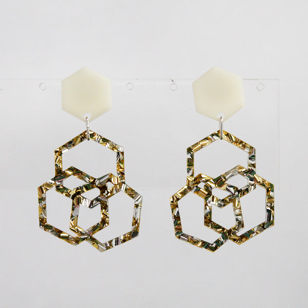 Triple Hexies Earrings in Cream, Gold & Silver
