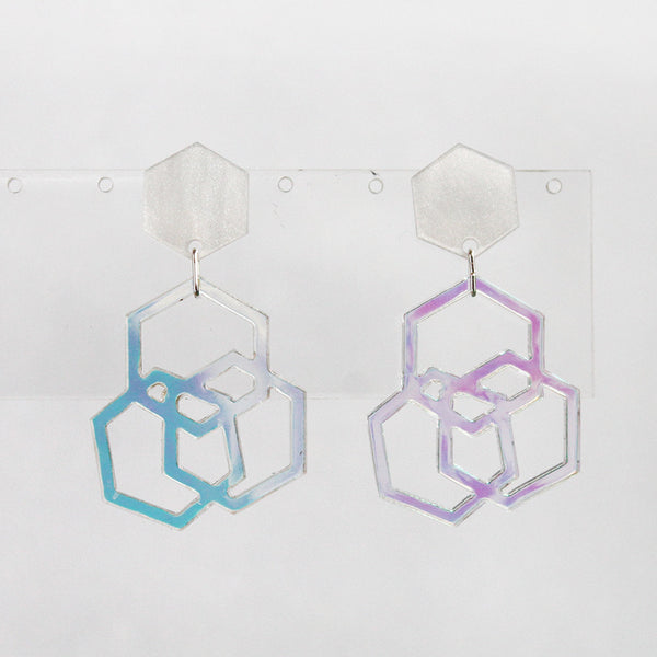 Pearly Iridescent Triple Hexies Earrings