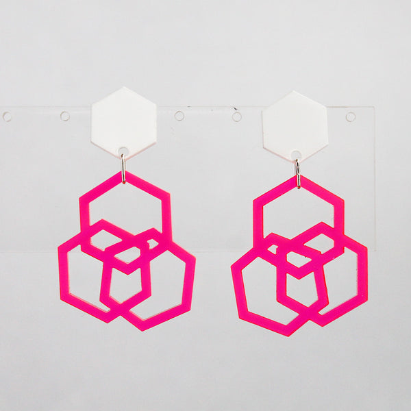 Neon Pink Triple Hexies Earrings