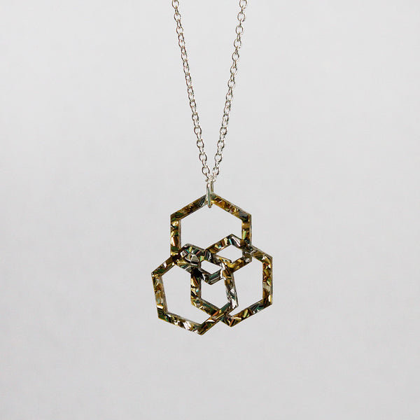 Triple Hexies Necklace in Silver & Gold
