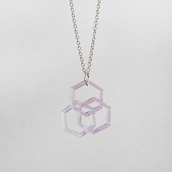 Iridescent Triple Hexies Necklace