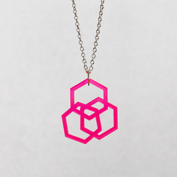 Triple Hexies Necklace in Neon Pink