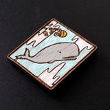 Painted Whale Brooch #001