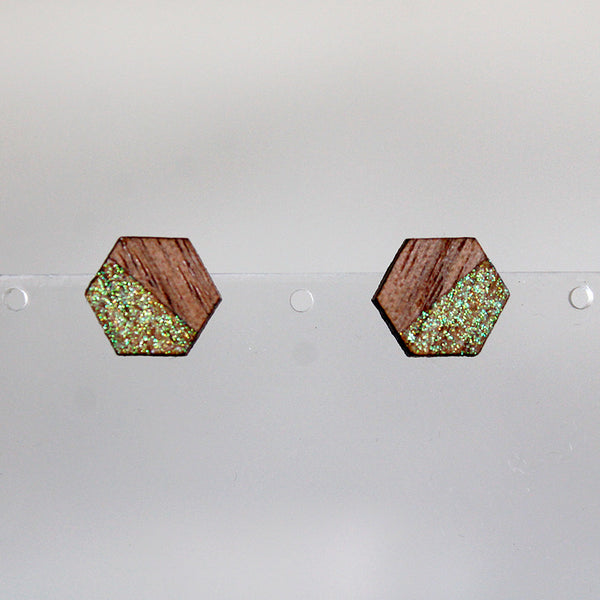 Tiny Wooden Hexagon Earrings - Walnut & Glitter