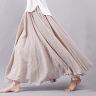 Women Linen Long Skirts with Elastic Waist Pleated Maxi Skirts