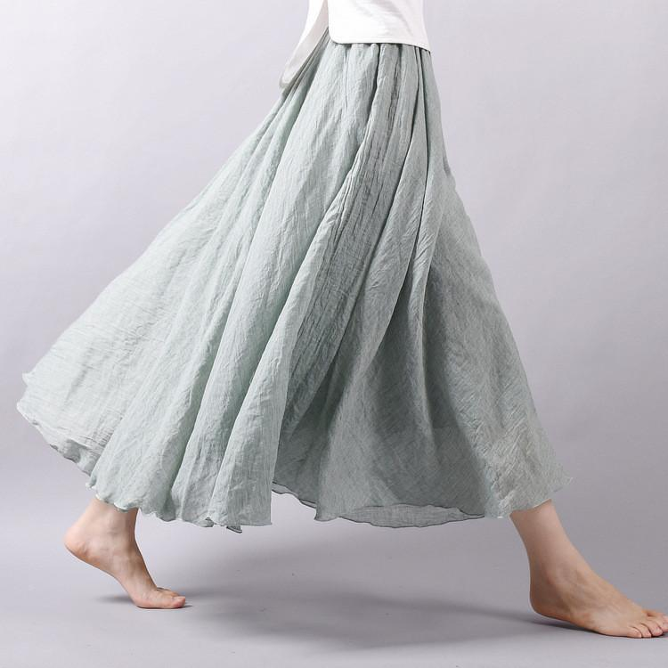 32a9f5696696 ... Women Linen Long Skirts with Elastic Waist Pleated Maxi Skirts ...