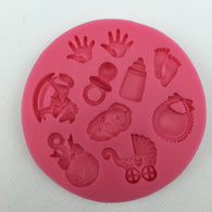 Baby Shower Silicone Cake Mold Kit | Stroller, Hand bottle,Hand prints, Bib