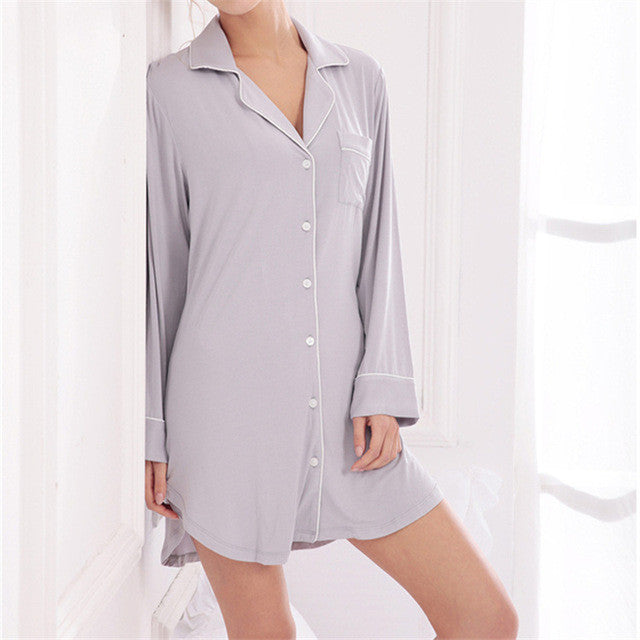 Modal long sleeve Nightgowns – Banyan Central 772ef3871d47