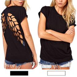 Angel Wings Short Sleeve 0-Neck Women Casual Shirts | Backless | Black, Grey, White | Size S-XXXL
