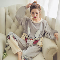 Women Warm Funny Pajamas Full length Sleep Set
