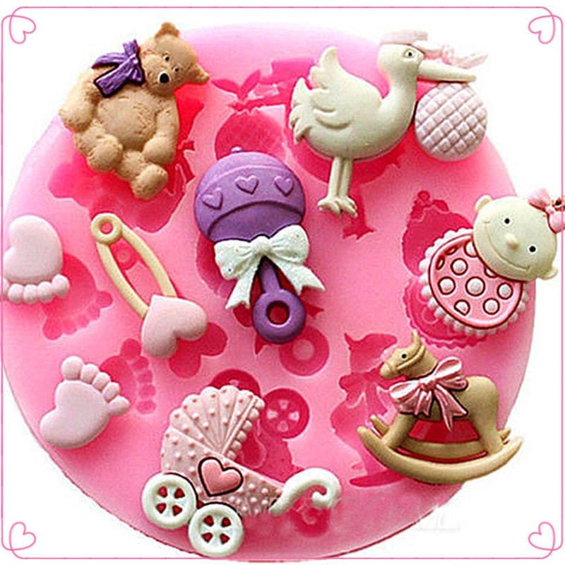 Baby Shower Party 3D Silicone Fondant Mold For Cake Decorating
