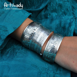 Artilady boho antic silver cuff copper bangle Bohemian Antalya carve pattern Statement bangle