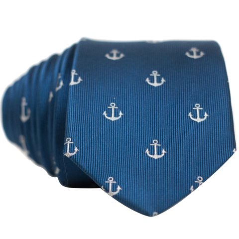 Anchors on Blue Necktie