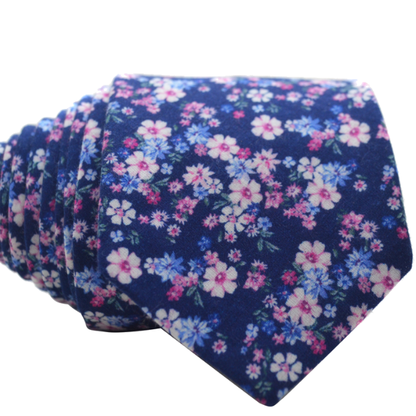 Blue and Pink Floral Tie