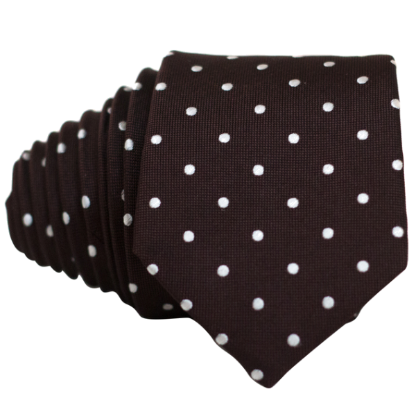 Classic Brown and White Dot Necktie - Nice. Modern Menswear