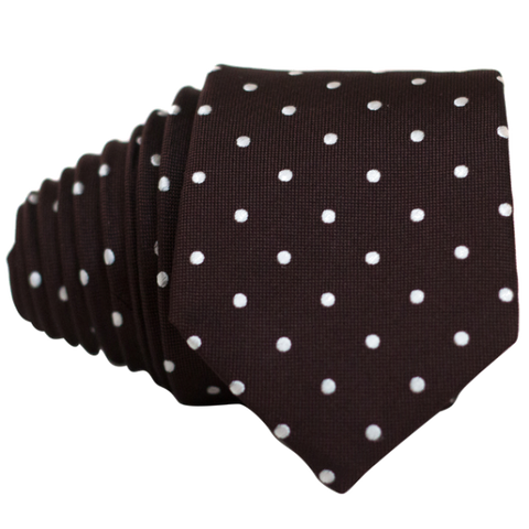 Classic Brown and White Dot Necktie