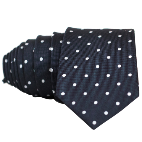 Classic Dark Grey and White Dot Necktie - Nice. Modern Menswear