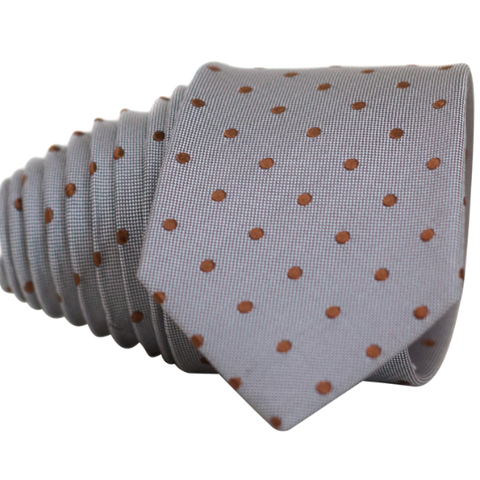 Classic Grey and Red Dot Necktie