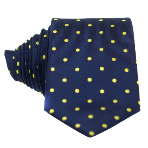Classic Navy Blue and Yellow Dot Necktie - Nice. Modern Menswear