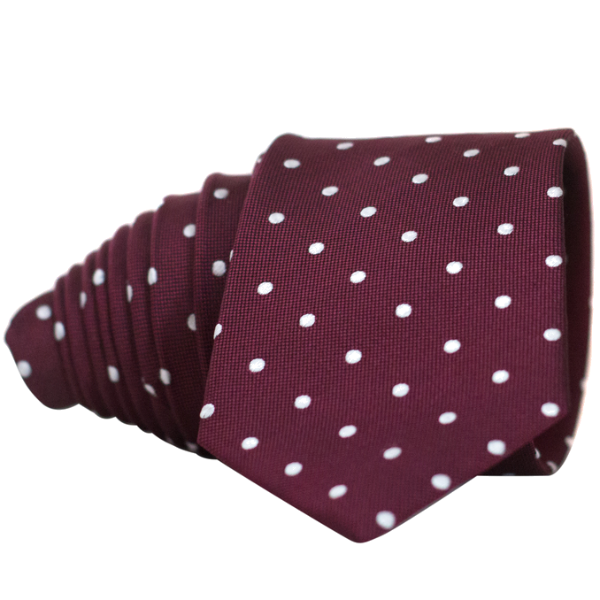 Classic Wine Red and White Dot Necktie - Nice. Modern Menswear
