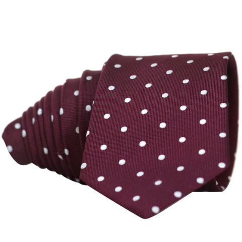 Classic Wine Red and White Dot Necktie