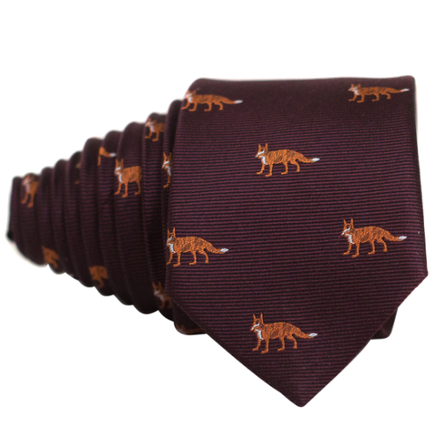 Fox's on Wine Red Necktie