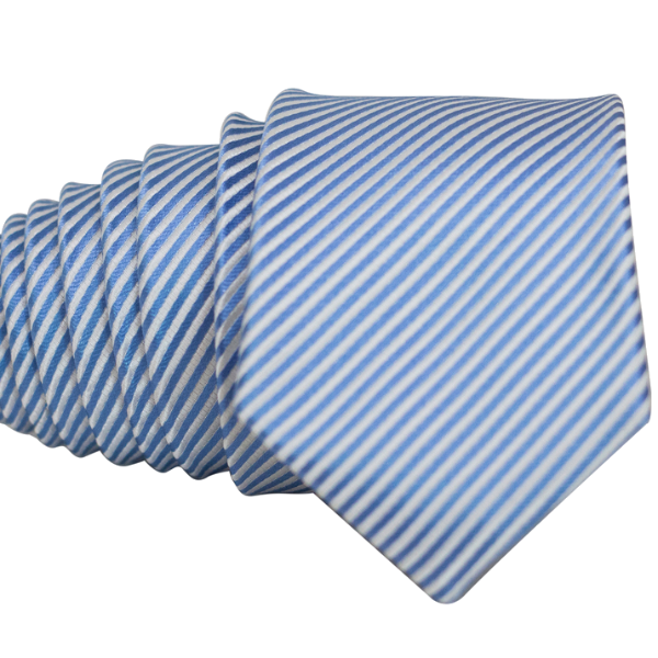 Light Blue Striped Necktie