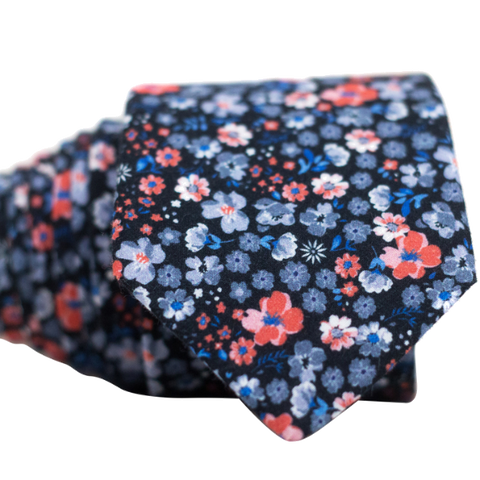 Orange Blue and Grey Floral Necktie
