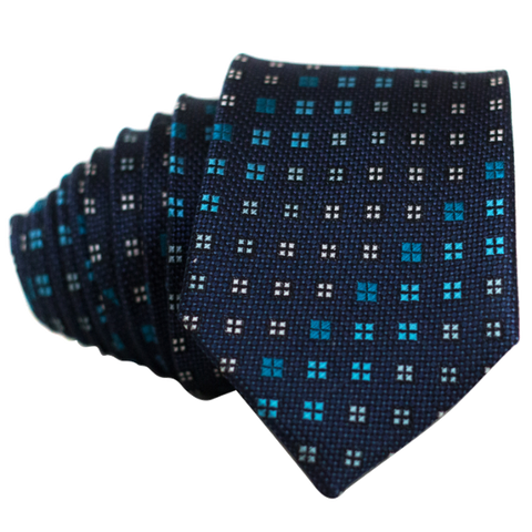 Squares on Blue Necktie