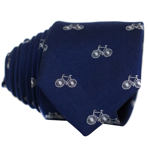 Bicycles on Navy Necktie