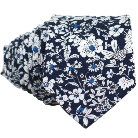 White on Navy Floral Necktie