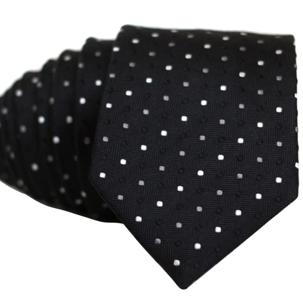 White Tan and Black Dots on Black Necktie - Nice. Modern Menswear