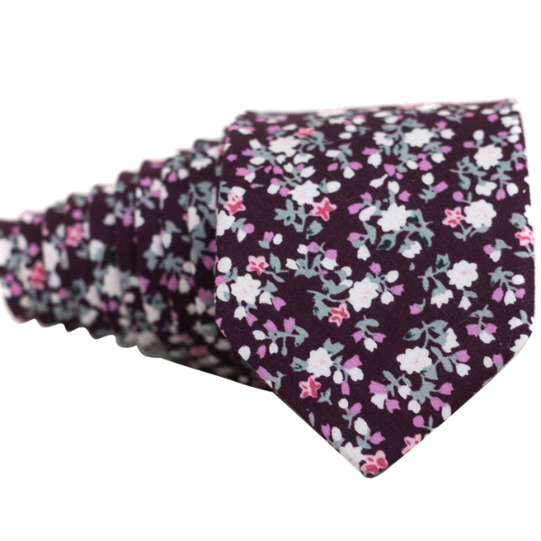 Wine Red Floral Necktie