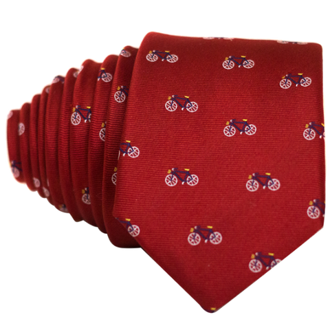 Bicycles on Red Necktie