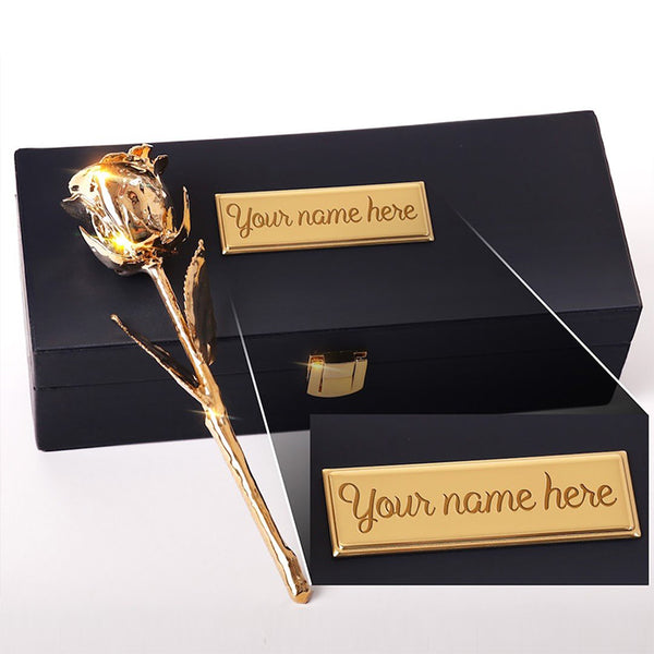 "Custom Engraved Box - 24 Karat Gold Dipped Natural Rose 7"" - Lovepicker"