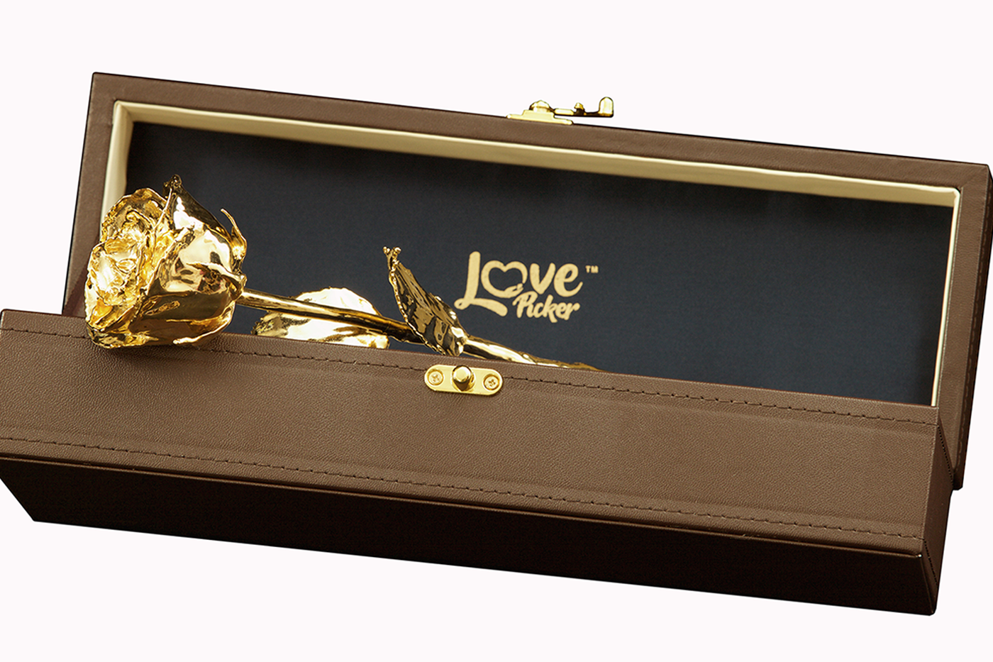 "Custom Engraved Box - 24 Karat Gold-Dipped Natural Rose 11.5"" - Lovepicker"