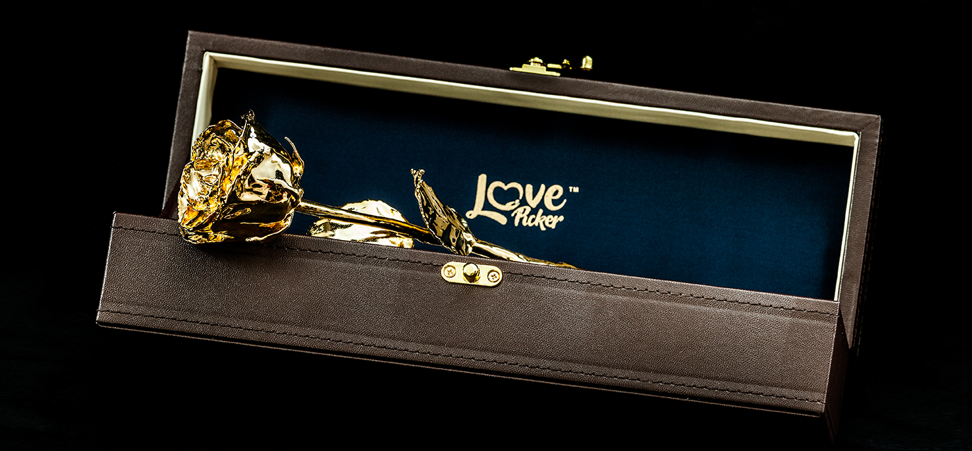 Custom Engraved Box - 24 Karat Gold-Dipped Natural Rose 11.5""