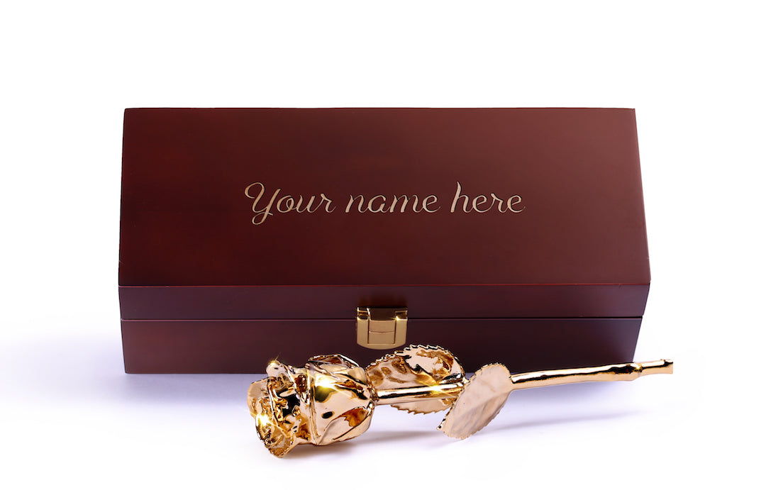 Custom Engraved Wooden Box - 24 Karat Gold Dipped Natural Rose 7""