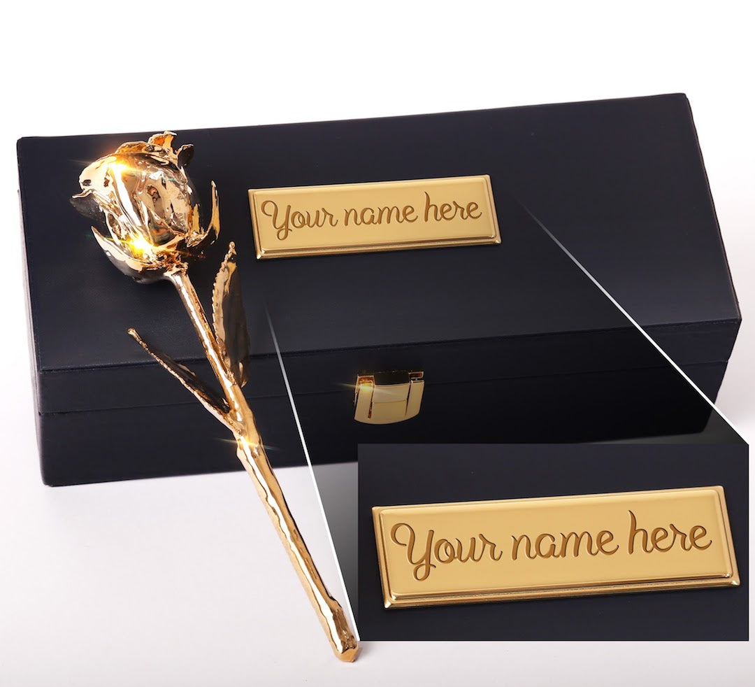 Custom Engraved Box - 24 Karat Gold Dipped Natural Rose 7""
