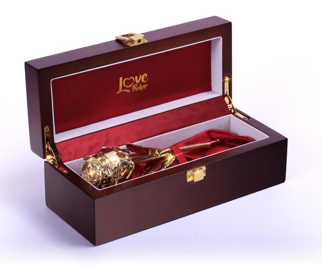 "Custom Engraved Wooden Box - 24 Karat Gold Dipped Natural Rose 7"" - Lovepicker"