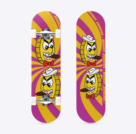 "Skateboard deck designed in a pink and yellow swirl, with a cartoon mafia coin and branded ""Money Junkies""."