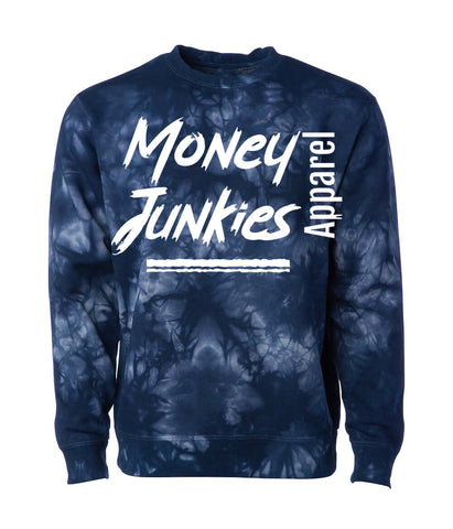 "Show off your love for that sweet cash in this ""money junkies"" sweatshirt. It features a fun tie dye print and a classic fit."