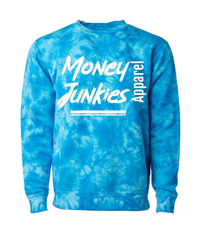 "Show off your love for that sweet cash in this ""money junkies"" crewneck. It features a fun tie dye print and a classic fit."
