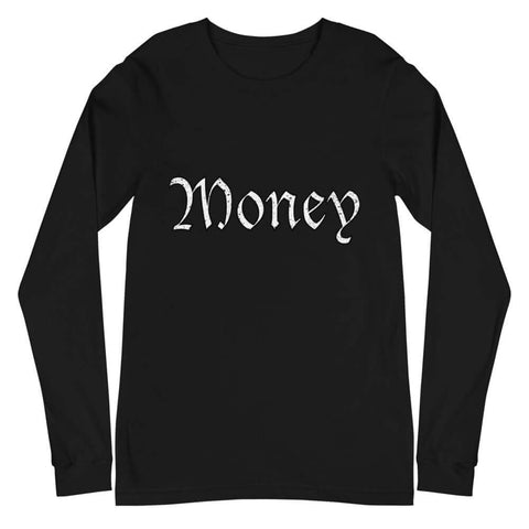 Old English Money Script Long Sleeve Tee - The Money Junkies Apparel Shop