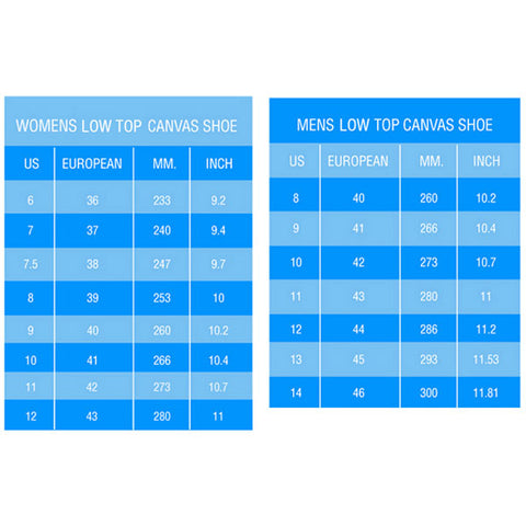 low top shoes sizing