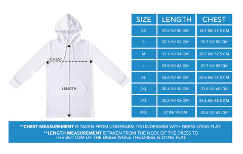 Hoodi Dress Sizing Chart