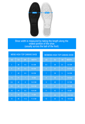 high top shoes width sizing